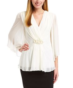 Look what I found on #zulily! White Faux Pearl-Embellished Surplice Top by Connected Apparel #zulilyfinds