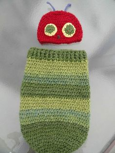 """""""Out of the egg came a tiny and very hungry caterpillar!"""" - Newborn Caterpillar cocoon costume, free pattern from YarnChick40"""
