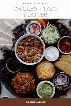 How to make an epic taco board and taco party platter tips! Plus, the best slow cooker taco chicken recipe. Put ingredients in the Instant Pot or slow cooker and come back to delicious chicken tacos with our dump and go instant pot recipes!
