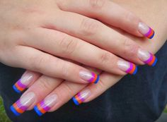 Striped French with coloured acrylic.