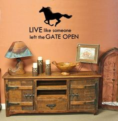 "Horse quote, ""Live like someone left the Gate Open"". This decal measures approx.36 X 24 inches as it is pictured. You may choose the color of the decal, and the color of the quote. Please contact seller with your color and font choice. This is a original design and is copy righted. The decal is the soul property of artistryofthehorse and aluckyhorseshoe. What you will receive in the kit. 1 - 24 X 15 inch horse decal, choose your color. 2 - Approx. 36 x 8 inches, Quote decal, choose your…"