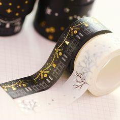 Diy 미니멀 블랙 화이트 질감 종이 테이프 Pda 실버 작은 신선한 꽃 테이프 5 메터 장식 접착 테이프 스티커 테이프