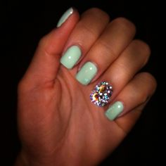 #Mint with Rhinestones #nails