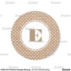 White Polka Dot Pattern design with Kraft paper effect background Wedding | Bridals Shower Stickers with Custom Monogram. Matching Wedding Invitations, Bridal Shower Invitations, Save the Date Cards, Wedding Postage Stamps, Bridesmaid To Be Request Cards, Thank You Cards and other Wedding Stationery and Wedding Gift Products available in the Floral Design Category of the yourweddingday store at zazzle.com