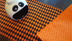Halloween Table Runner Harlequin Plaid Reversible Black Dots on Orange Padded Halloween Wine Bottles, Halloween Table Runners, Orange Background, Gift Table, Black Dots, Gift Bags, Printing On Fabric, Plaid, How To Make