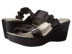 1dc52ebbb6a4 Naot Treasure (Black Madras Leather Black Patent Leather) Women s Wedge  Shoes. The