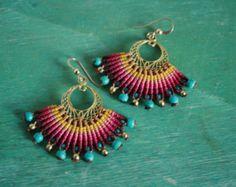 micro macrame large tribal fan earrings by yasminsjewelry on Etsy