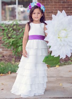 [US$ 59.99] A-Line/Princess Floor-length Flower Girl Dress - Chiffon Sleeveless Scoop Neck With Sash/Cascading Ruffles (010089503)