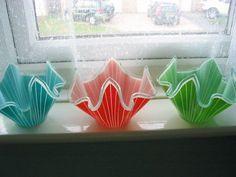 Three Stunning Chance Glass Handkerchief vases    eBay