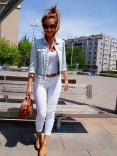 outfits pantalones blancos - Buscar con Google