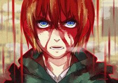 I've been wondering in the second opening of season one of AOT why is Armin soaked in blood and has a psychotic look on his face! I'm guessing its some kind of symbolism or something but I'm not gonna lie it freaked me out to see my baby look that way!