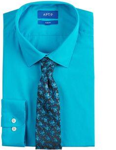 83b1f300b67 Dress shirt  tie combo blue Slim fit  stretch royal blue dress shirt ...