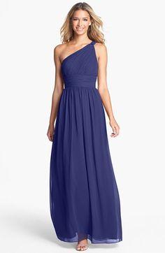 Donna Morgan 'Rachel' Ruched One-Shoulder Chiffon Gown (Regular & Plus) | Nordstrom, in Midnight