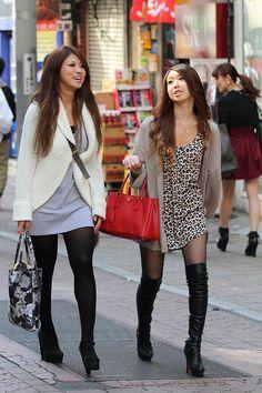 Asian women street style boots