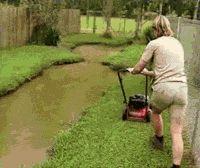 Steve Irwin Mowing His Lawn