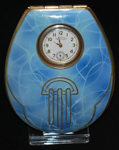 Enamel Art Deco compact with built in watch by Timepact