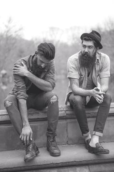 Joel Alexander and Lane Toran - full thick dark beards and mustaches beard mustache bearded men man mens' street style fashion #beardsunited #powerbeards