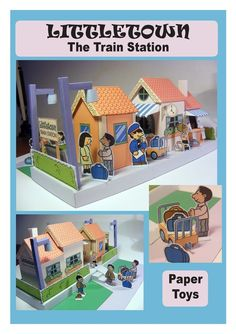 littletown train station downloadable pdf template #folding #paper