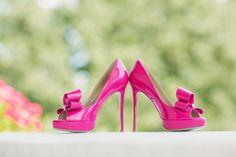 Hot pink wedding shoes: http://www.stylemepretty.com/california-weddings/ojai/2014/04/30/pink-ojai-wedding/ | Photography: Mi Belle - http://mibelleinc.com/