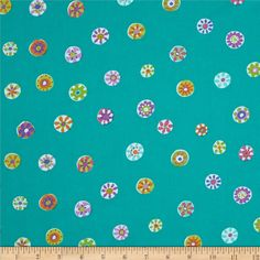 Micheal Miller Melodies Folk Floral Dot Mermaid from @fabricdotcom  Designed by Sarah Campbelll for Michael Miller, this cotton print fabric is perfect for quilting, apparel and home decor accents. Colors include white, orange, pink, blue, purple and yellow on a green background.