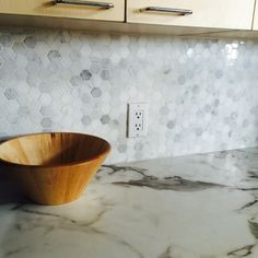 Marble hexagon mosaic and callacatta marble countertop- kitchen Reno in progress Marble Countertops Kitchen, Country Living, Kitchen, Hexagonal Mosaic, Kitchen Reno, 180fx, Marble Countertops, Mosaic, Hexagon