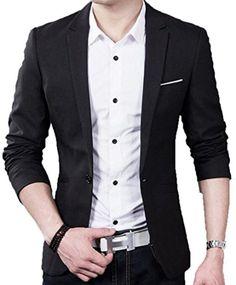 RH Men's Slim Fit Stylish Notch Lapel Patch One Button blazer Black US L -  Brought