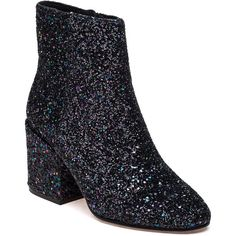 ASH Erika Glitter Fabric Boot ($228) ❤ liked on Polyvore featuring shoes, boots, ankle booties, ankle boots, midnight glitter, leather sole boots, ash boots, ash bootie, short high heel boots and sparkle boots