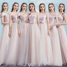 Chic / Beautiful Blushing Pink Bridesmaid Dresses 2018 A-Line / Princess Bow Backless Floor-Length / Long Wedding Party Dresses Hippie Bridesmaid Dresses, Cheap Bridesmaid Dresses Online, Hippie Dresses, Flower Girl Dresses, Off Shoulder Gown Bridesmaid, Pink Dresses, Bridesmaids, Best Wedding Guest Dresses, Wedding Party Dresses