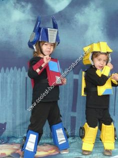 DIY Optimus Prime and Bumblebee Halloween Costume Ideas: These DIY Optimus Prime and Bumblebee Halloween costume ideas were made creating a pattern out of paper and taping it together. Then once the measurements