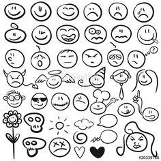 """Laden Sie den lizenzfreien Vektor """"Handgezeichnete Smilies"""" von Rudie zum günstigen Preis auf Fotolia.com herunter. Stöbern Sie in unserer Bilddatenbank und finden Sie schnell das perfekte Stockbild für Ihr Marketing-Projekt!"""
