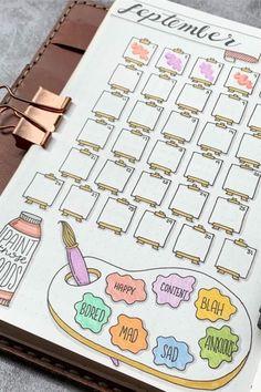 Bullet Journal School, Bullet Journal Tracker, Bullet Journal Doodles, Bullet Journal Spreads, Bullet Journal Mood Tracker Ideas, Bullet Journal Writing, Bullet Journal Headers, Bullet Journal Cover Page, Bullet Journal Aesthetic