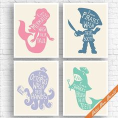 Mermaid And Pirate Bathroom Art Print, Wash Brush Floss ... | Home Décor |  Pinterest | Pirate Bathroom, Wash Brush And Bathroom Art