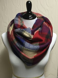 Queen Mary Plaid Scarf - Red Beige Blue