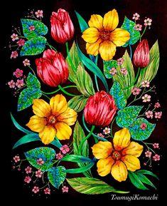 水彩練習には勿体無いと思いつつ#野の花のぬり絵ブック より。 春を意識した配色を試みてみました。 黒バックに水彩はあっとゆー間の仕上がり 昭和漫画の挿絵のようなレトロ感が気に入ってる。  #おとなの塗り絵 #おとなのぬりえ #大人の塗り絵 #コロリアージュ #水彩 #水彩毛筆 #あかしや水彩毛筆 #coloringbook #coloriage #colouringbook #adultcoloringbook