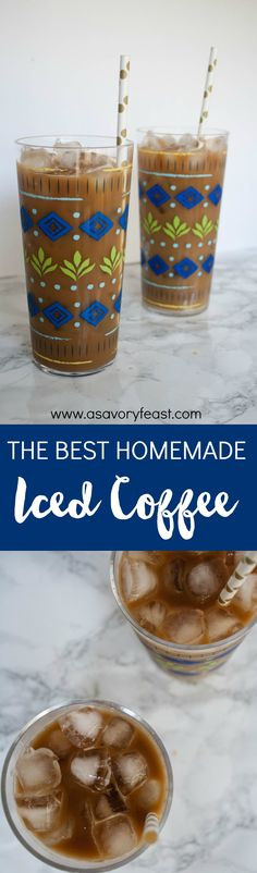 Need a refreshing afternoon pick-me-up? Here's how to make the BEST homemade iced coffee at a fraction of the price of a coffee shop! This recipe makes a big batch that is great for a party or keeping in the fridge so you can enjoy iced coffee every day.