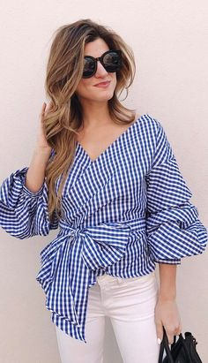 Checked top in blue or pink