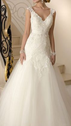 beaded Lace and Tulle modified A-Line wedding dress