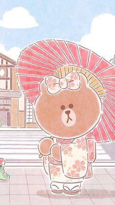 Lines Wallpaper, Brown Wallpaper, Bear Wallpaper, Iphone Wallpaper, Iphone Backgrounds, Kawaii, Friends Wallpaper, Line Friends, Line Illustration