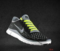 87f05b0dfdca  49.97 Cheapest Mens Nike Free 3.0 V4 Black Reflect Silver Cool Grey  Fluorescent Yellow Lace Shoes
