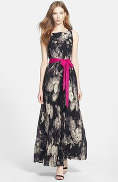 Eliza J Print Chiffon Maxi Dress | Nordstrom, $158.00 -- remove magenta sash and use leather belt instead.