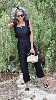 Black ruffled overalls for a chic picnic outfit // A Week Of Sophisticated Slow Fashion Outfits With Tennille Murphy From The Tennille Life on The Good Trade Over 50 Womens Fashion, Fashion Over 40, Slow Fashion, Curvy Fashion, Fall Fashion, Ethical Clothing, Ethical Fashion, Picnic Outfits, Ageless Beauty