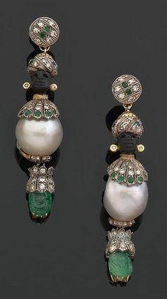 ☆ Codognato pair of Blackamoor earrings «Moretti Art Deco Jewelry, Pearl Jewelry, Fine Jewelry, Victorian Jewelry, Antique Jewelry, Vintage Jewelry, Sarotti Mohr, Bling Bling, Faberge Eier