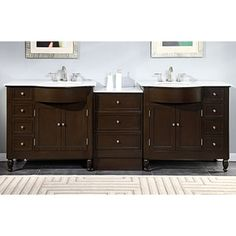 Shop for Silkroad Exclusive 95-inch Carrara White Marble Top Bathroom Double Sink Vanity. Get free delivery at Overstock.com - Your Online Furniture Outlet Store! Get 5% in rewards with Club O!
