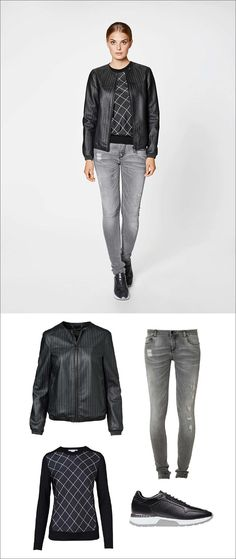 Women's Fashion Ideas - 12 Womens Outfits From Porsche Design's 2017 Spring/Summer Collection // This women's outfit has been made slightly edgier with a pair of ripped jeans, a knit sweater, a lightweight black jacket, and a pair of black, white, and grey sneakers.