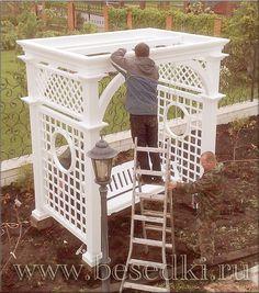 Backyard Swings, Patio Gazebo, Pergola Swing, Outdoor Pergola, Outdoor Rooms, Backyard Landscaping, Garden Buildings, Garden Structures, Garden Trellis