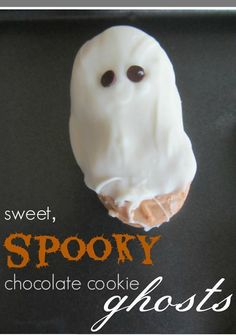 Sweet, spooky chocolate cookie ghosts --> super easy and fun halloween treat for kids. . . It's chocolate covered sandwich cookies make into PERFECT ghosts!  You'll want to add these halloween ghost cookies to your halloween party for some spooky fun! #teachmama #halloweentreats #cookies #halloween #snacks #ghost #halloweenparty #treats #halloweenfood #spooky #recipes