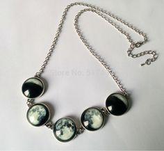 Brilhante colar de Jóias lua galáxia vidro da lua cheia para o passado arte da foto colar de Jóias Brilham no escuro da lua cheia colar em Pingente Colares de Jóias & Acessórios no AliExpress.com | Alibaba Group