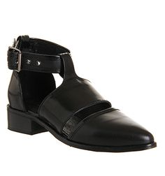 Office Villain Three Part Point Black Leather - Flats