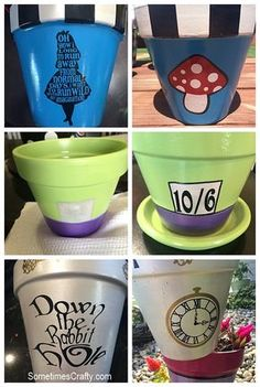 DIY Alice in Wonderland Topsy Turvy Flower Planter + Bird Bath Tutorial – Sometimes Crafty Wonderland Planters Disney Home, Disney Diy, Disney Crafts, Disney Ideas, Flower Pot Crafts, Clay Pot Crafts, Teacup Crafts, Diy Flower, Mad Hatter Party
