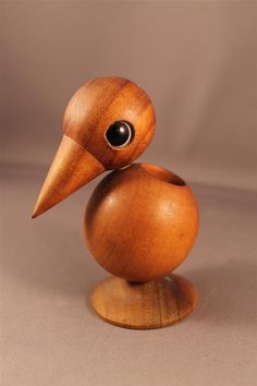 Toothpick Holder Teak Wood Figurine BIRD Denmark True or Vintage mid… Lathe Projects, Wood Turning Projects, Wood Projects, Wood Animal, Wooden Figurines, Wood Bird, Wood Lathe, Christmas Wood, Wood Toys
